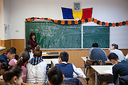 French language class at the school in Marginenii de Jos, where pupils - Roma and Non Roma - are educated together. The village has about 3400 inhabitants. The majority population are Roma with 2700 citizens and 700 non Roma.
