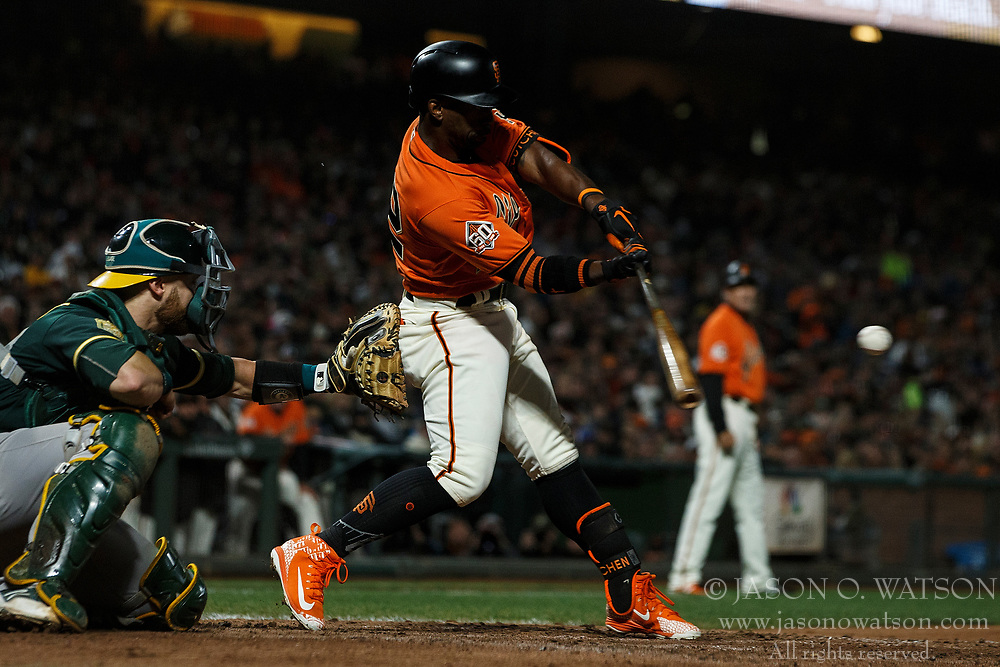 SAN FRANCISCO, CA - JULY 13: Andrew McCutchen #22 of the San Francisco Giants at bat against the Oakland Athletics during the seventh inning at AT&T Park on July 13, 2018 in San Francisco, California. The San Francisco Giants defeated the Oakland Athletics 7-1. (Photo by Jason O. Watson/Getty Images) *** Local Caption *** Andrew McCutchen