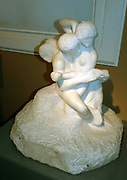 Auguste Rodin 1840-1917, Cupid and Psyche circa 1908.  Marble.  Rodin explored this subject over a number of years, beginning in the 1880's with his work for the Gates of Hell.  Marble versions of Rodin's sculpture were usually carved by assistants under his supervision.