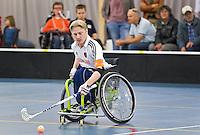 BREDA - Paragames 2011 Breda, Frans Schutte zaterdag tijdens  de interland Nederland-Duitsland  bij het 4-landentoernooi Wheelchair Floorball Hockey, het  Nederlands handvoortbewogen rolstoelhockeyteam.  ANP COPYRIGHT KOEN SUYK