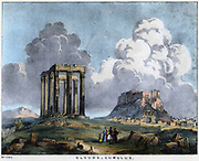 Cumulus clouds which often bring a thunderstorm. Coloured lithograph 1845.