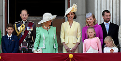 James, Viscount Severn, Prince Edward, Earl of Wessex, Camilla, Duchess of Cornwall, Catherine, Duchess of Cambridge, Autumn Phillips, Peter Phillips, Savannah Phillips and Isla Phillips stand on the balcony of Buckingham Palace following Trooping the Colour in London