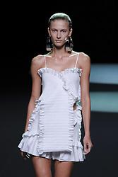 September 16, 2016 - Madrid, Spain - A model showcases designs by Juan Vidal on the runway at the Juan Vidal show during Mercedes-Benz Fashion Week Madrid Spring/Summer 2017 at Ifema on September 16, 2016 in Madrid, Spain. (Credit Image: © Oscar Gonzalez/NurPhoto via ZUMA Press)