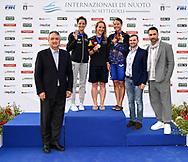 Paolo Barelli, <br /> DI LIDDO Elena Italy ITA Silver Medal <br /> BIANCHI Ilaria Italy ITA Gold Medal <br /> OMOTO Rika Japan JPN Bronze Medal <br /> Raoul Bova <br /> Women's 100m Butterfly <br /> Roma 22/06/2019 Stadio del Nuoto Foro Italico <br /> FIN 56 Trofeo Sette Colli 2019 Internazionali d'Italia<br /> Photo Andrea Staccioli/Deepbluemedia/Insidefoto