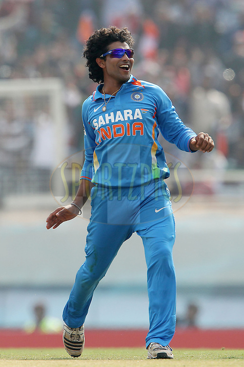 Ravindra Jadeja of India celebrates the wicket of Samit Patel of England during the 3rd Airtel ODI Match between India and England held at the JSCA International Stadium Complex, Ranchi, India on the 19th January 2013..Photo by Ron Gaunt/BCCI/SPORTZPICS ..Use of this image is subject to the terms and conditions as outlined by the BCCI. These terms can be found by following this link:..http://www.sportzpics.co.za/image/I0000SoRagM2cIEc