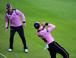 Nick Gubbins and Eoin Morgan of Middlesex team up to catch Roelof Van De Merwe of Somerset.  - Mandatory by-line: Alex Davidson/JMP - 15/07/2016 - CRICKET - Cooper Associates County Ground - Taunton, United Kingdom - Somerset v Middlesex - NatWest T20 Blast