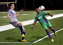 16 May 2015. New Orleans, Louisiana.<br /> National Premier Soccer League. NPSL. <br /> 2nd half. The New Orleans Jesters play Nashville FC at home in the Pan American Stadium. Jesters drew 1-1 with Nashville in a game that ended in a controversial equalizer from a free kick awarded to Nashville as the minutes wound down in extra time.<br /> Photo; Charlie Varley/varleypix.com