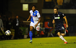 Bristol Rovers' Ellis Harrison and Southend United's Ryan Leonard - Photo mandatory by-line: Seb Daly/JMP - Tel: Mobile: 07966 386802 27/09/2013 - SPORT - FOOTBALL - Roots Hall - Southend - Southend United V Bristol Rovers - Sky Bet League Two