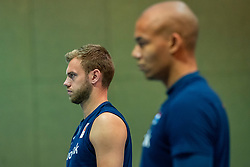 07-05-2019 NED: Press moment national volleyball team Men, Arnhem<br /> Roberto Piazza, the new national coach of the Dutch men's team, gives an overview of the group matches of the Golden European League, the OKT and the European Championship played in their own country / Gijs Jorna, Nimir Abdelazziz