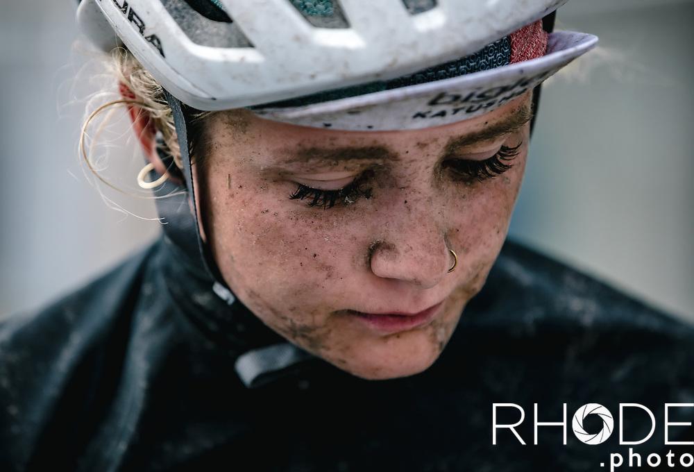 Niamh Fisher Black (AUS/Bigla Katusha) post finish<br /> <br /> 75th Omloop Het Nieuwsblad 2020 (BEL)<br /> Women's Elite Race <br /> Gent – Ninove: 123km<br /> <br /> ©kramon