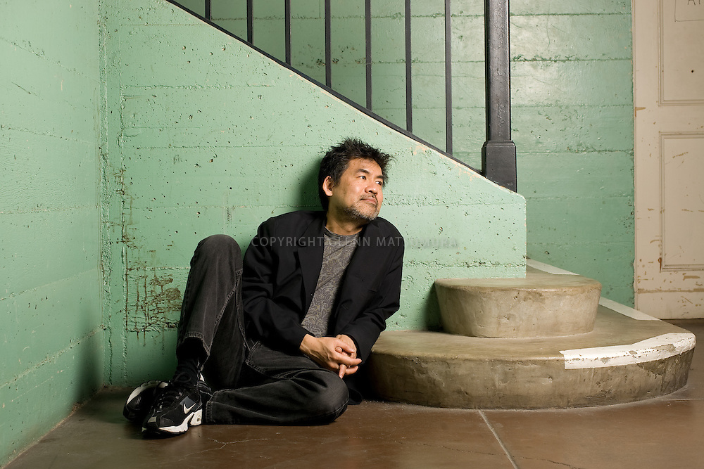 David Henry Hwang, Asian American playwright at Stanford's Roble Gym.