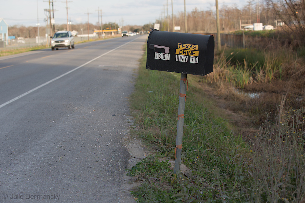 Texas Brines mailbox at the site of the Bayou Corne Sinkhole