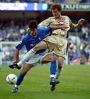 Photographer: Scott Heavey<br />Ipswich Town V Portsmouth. 18/04/03.<br />Pablo Counago beats Hayden Foxe during this Nationwide Division one match at Portland Road.