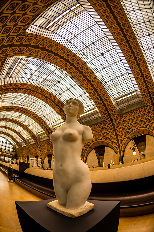 "Sculptures, Musee d""Orsay,  a museum in Paris, France, on the Left Bank of the Seine. It is housed in the former Gare d'Orsay, a Beaux-Arts railway station built between 1898 and 1900."