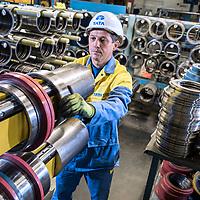Halmstad Sweden- Pix at Tata Steel , Halmstad Distribution Centre worker with steel cutting blades