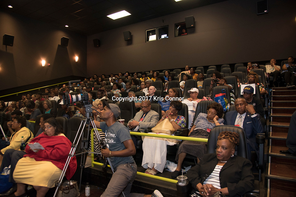 Guests listen as Director Reginald Hudlin and Actor Chwick Boseman speak with Roland Martin during a Q&A session after a screening of Open Road Films' new movie MARSHALL at in Baltimore, Md. on July 25th, 2017. (Photo by Kris Connor/Open Road Films)