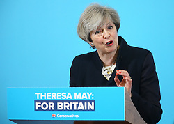 © Licensed to London News Pictures. 12/05/2017. North Shields, UK. Prime Minister Theresa May speaking during a visit to the Linskill Centre in North Shields, while on the General Election campaign trail. Photo credit: Andrew McCaren/LNP