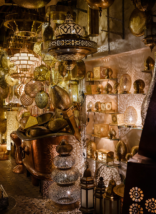 FEZ, MOROCCO - CIRCA MAY 2018: Typical store of lamps in the  Medina in Fez Fes el Bali. is the oldest walled part of Fez, Morocco.