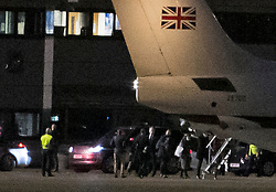 © Licensed to London News Pictures. 09/12/2020. London, UK. British Prime Minister BORIS JOHNSON boards a plane with his team at Northolt Airport in west London where he is due to fly Brussels to meet European commission president Ursula von der Leyen in an attempts to come to a last minute agreement on a Brexit deal. Photo credit: Ben Cawthra/LNP