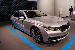 NEW YORK, USA - MARCH 23, 2016: BMW 740e on display during the New York International Auto Show at the Jacob Javits Center.