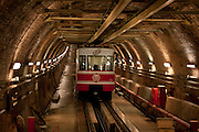 One of Itanbul's two funicular lines the Tünel. This line is the oldest underground metro line in continental Europe, and the second in the world after London and has been continuously in service since 1875 with about 15,000 people using it every day...Istanbul 7 June 2012