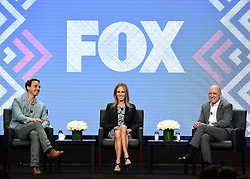 BEVERLY HILLS - AUGUST 8: L-R: Rob Wade, President, Alternative Entertainment and Specials, Fox Broadcasting Company, Dana Walden, Chairman and CEO, Fox Television Group and David Madden, President, Entertainment, Fox Broadcasting Company onstage during the Executive Session at the FOX portion of the 2017 Summer TCA press tour at the Beverly Hilton on August 8, 2017 in Beverly Hills, California. (Photo by Frank Micelotta/Fox/PictureGroup) *** Please Use Credit from Credit Field ***