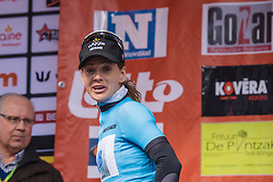 Emma Johasson spots a friendly face in the crowd - Le Samyn des Dames 2016, a 113km road race from Quaregnon to Dour, on March 2, 2016 in Hainaut, Belgium.