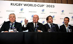 France 2023 bid president Claude Atcher (left), French Rugby Federation president Bernard Laporte (centre left), Serge Simon (centre right) and Frederic Michalak (right) during the 2023 Rugby World Cup host union announcement at The Royal Garden Hotel, Kensington. PRESS ASSOCIATION Photo. Picture date: Wednesday November 15, 2017. Photo credit should read: John Walton/PA Wire. RESTRICTIONS: Editorial use only. No commercial use without prior permission.