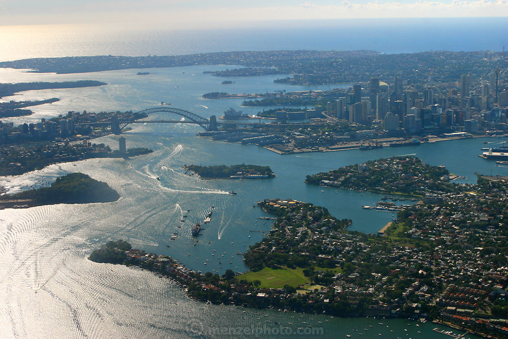 Aerial view of Sydney's central business district and the Sydney Harbour Bridge in New South Wales, Australia.