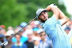 May 4, 2019 - Charlotte, NC, U.S. - CHARLOTTE, NC - MAY 04: Max Homa plays his shot from the first tee to begin round three of the Wells Fargo Championship on May 04, 2019 at Quail Hollow Club in Charlotte,NC. (Photo by Dannie Walls/Icon Sportswire) (Credit Image: © Dannie Walls/Icon SMI via ZUMA Press)