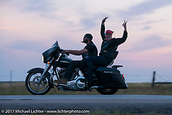 Riding back to Sturgis from the Full Throttle Saloon during the annual Sturgis Black Hills Motorcycle Rally. Sturgis, SD. USA. Friday August 11, 2017.  Photography ©2017 Michael Lichter.