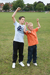 Boys cheering.