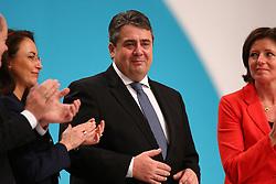 11.12.2015, City Cube Berlin, Messegelaende, Berlin, GER, SPD Parteitag, im Bild Der SPD-Parteivorsitzende Sigmar Gabriel ist sichtlich beruehrt // during the german socialist Party congress at the City Cube Berlin, Messegelaende in Berlin, Germany on 2015/12/11. EXPA Pictures © 2015, PhotoCredit: EXPA/ Eibner-Pressefoto/ Hundt<br /> <br /> *****ATTENTION - OUT of GER*****