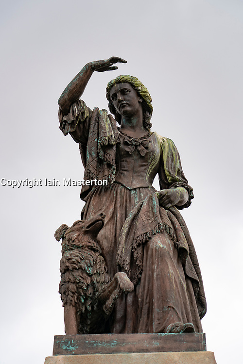 Statue of Flora MacDonald outside Inverness Castle in Inverness, on the North Coast 500 scenic driving route in northern Scotland, UK