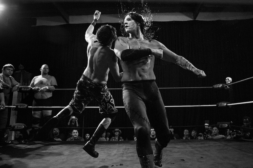 APW's annual Halloween Hell event where students and instructors display their skills. The school is taught by former professionals, and some students go on to become well known professional wrestlers.