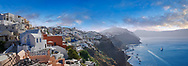 Panoramic view of Oia (ia), Cyclades Island of  Thira, Santorini, Greece .<br /> <br /> If you prefer to buy from our ALAMY PHOTO LIBRARY  Collection visit : https://www.alamy.com/portfolio/paul-williams-funkystock/santorini-greece.html<br /> <br /> Visit our PHOTO COLLECTIONS OF GREECE for more photos to download or buy as wall art prints https://funkystock.photoshelter.com/gallery-collection/Pictures-Images-of-Greece-Photos-of-Greek-Historic-Landmark-Sites/C0000w6e8OkknEb8