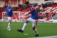 Matty Blair of Doncaster Rovers (17) warming up during the EFL Sky Bet League 1 match between Doncaster Rovers and AFC Wimbledon at the Keepmoat Stadium, Doncaster, England on 17 November 2018.