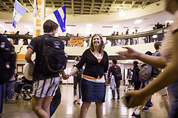 May 4, 2018 - Minneapolis, MN, U.S.A - Laura Lanik makes sure that students are moving along during passing period. ] LEILA NAVIDI • leila.navidi@startribune.com ....BACKGROUND INFORMATION: South High School social studies teacher Laura Lanik plays principal for the day, switching places and daily duties with principal Ray Aponte on Friday, May 4, 2018. Lanik made a bucket list of fifty things to do after she turned 50 years old, and being principal for the day was on that list. (Credit Image: © Leila Navidi/Minneapolis Star Tribune via ZUMA Wire)