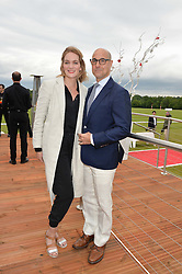 FELICITY BLUNT and STANLEY TUCCI at the Audi Polo Challenge at Coworth Park, Blacknest Road, Ascot, Berkshire on 31st May 2015.