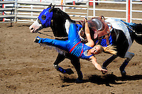 Daredevil stunts marked the Sureshot Productions trick riding at the 102nd California Rodeo Salinas, which opened July 19 for a four-day run.
