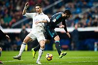 Real Madrid's forward Cristiano Ronaldo and Real Sociedad's defender Raul Navas during the match of La Liga between Real Madrid and   Real Sociedad at Santiago Bernabeu Stadium in Madrid, Spain. January 29th 2017. (ALTERPHOTOS/Rodrigo Jimenez)