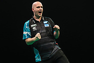 Rob Cross hits a double and wins a leg and celebrates during the Unibet Premier League darts at Motorpoint Arena, Cardiff, Wales on 20 February 2020.
