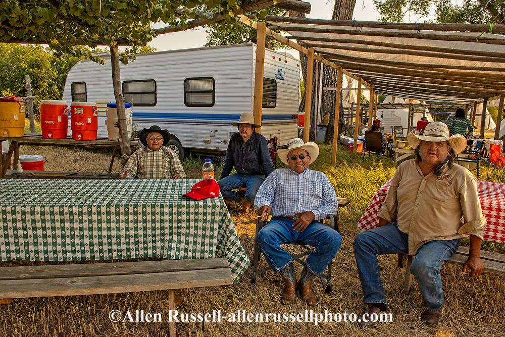 Brothers, Jim Real Bird, Richard Real Bird, Henry Real Bird, son John Real Bird, Real Bird camp, Crow Fair, Montana