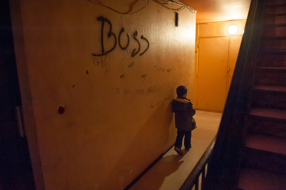 10 years ago, on 27 October 2005 riots broke out in the French suburbs.  It started here with the death of two boys, in Clichy sous Bois, 15 km from Paris, an economically deprived suburb.  Housing complex Chêne Pointu. 7 March 2015, Clichy sous Bois, France.