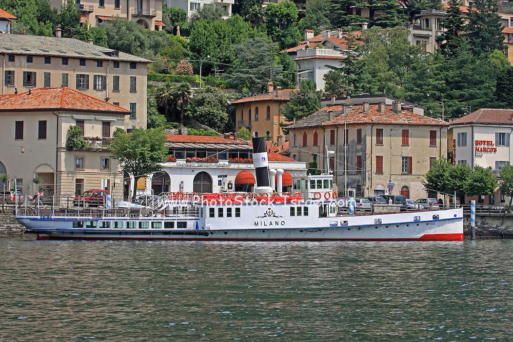 Italy, Lombardy, Lake Como Pleasure cruise boat