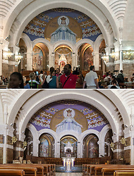 People inside the Basilica of Our Lady of the Rosary on August 03, 2018 (top) and empty in Lourdes, France on April 10, 2020 (bottom) as the Catholic pilgrimage site was closed to the public due on the twenty-fourth day of a strict lockdown across France to attempt to halt the spread of COVID-19, caused by the novel coronavirus. Lourdes is about to experience an unprecedented week of Easter, without faithful. Photo by Patrick Batard/Thibaud Moritz/JMP/ABACAPRESS.COM