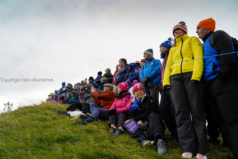 Auchterarder, Scotland, UK. 14 September 2019. Saturday afternoon Fourballs matches  at 2019 Solheim Cup on Centenary Course at Gleneagles. Pictured; Spectators around the 7th green. Iain Masterton/Alamy Live News