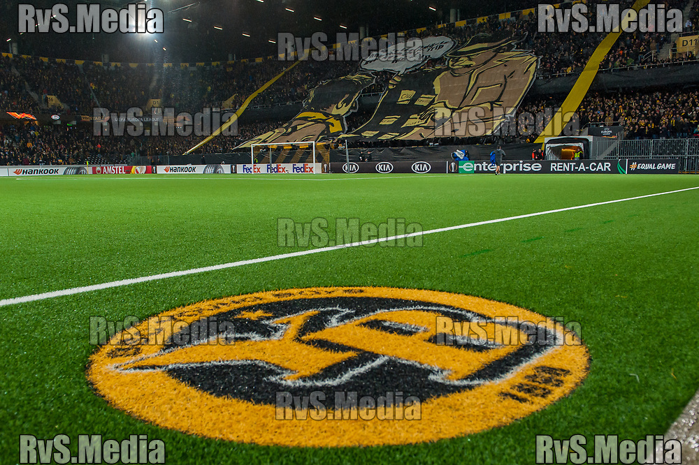 BERN, SWITZERLAND - NOVEMBER 28: BSC Young Boys fans with banner during the UEFA Europa League group G match between BSC Young Boys and FC Porto at Stade de Suisse, Wankdorf on November 28, 2019 in Bern, Switzerland. (Photo by Robert Hradil/RvS.Media)