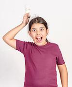 Great energy saving idea girl with lightbulb