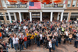 Participants in front of the Franklin Hotel at the start of the annual Legends Ride before leaving Deadwood for the Buffalo Chip during the 78th annual Sturgis Motorcycle Rally. Sturgis, SD. USA. Monday August 6, 2018. Photography ©2018 Michael Lichter.